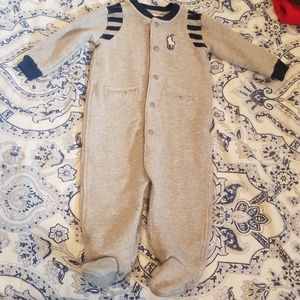 Polo Sweatshirt Material One Piece with Footies